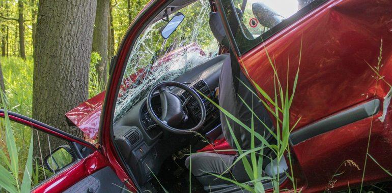 Nietrzeźwy kierowca stracił panowanie nad autem i uderzył w drzewo.