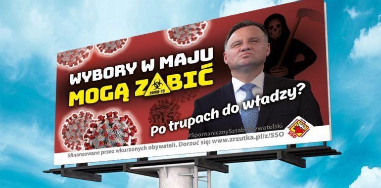 """Billboardy z Andrzejem Dudą i hasłem """"Wybory podczas epidemii mogą zabić"""" pojawiły się w Suwałkach"""